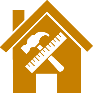 Icon of a house with a hammer and ruler diagonal to each other inside the main part of house.