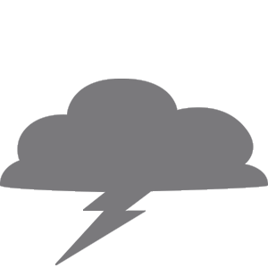 Gray Storm Icon Consisting of a Cloud with Lightning Coming Out of It.