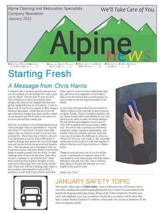 January 2012 Newsletter Alpine Cleaning amp Restoration