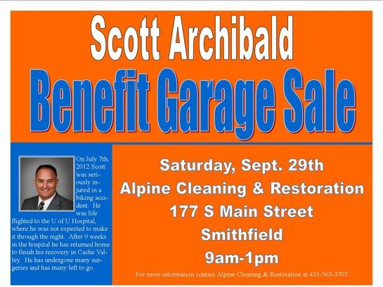 Benefit Garage Sale For Scott Archibald Alpine Cleaning