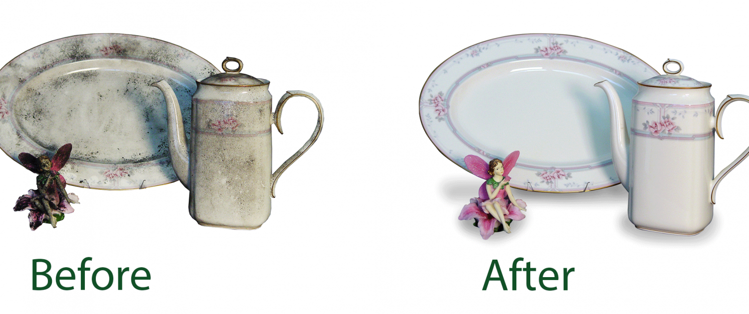 before and after picture of china damaged by fire and restored by Alpine Cleaning and Restoration