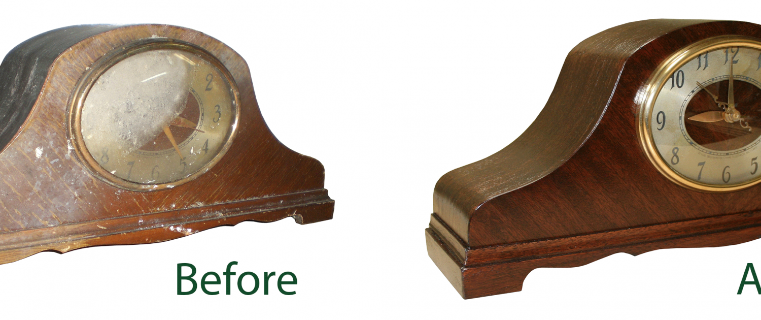 Before and after picture of a clock damaged by fire and then restored by Alpine Cleaning and Restoration
