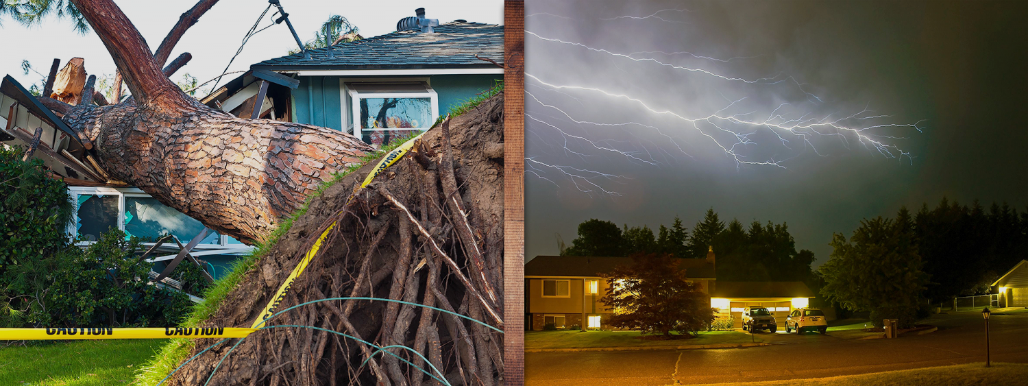 Left Image of Storm Damage Caused by Fallen Tree Crushing House. Right image shows Lightning and two houses